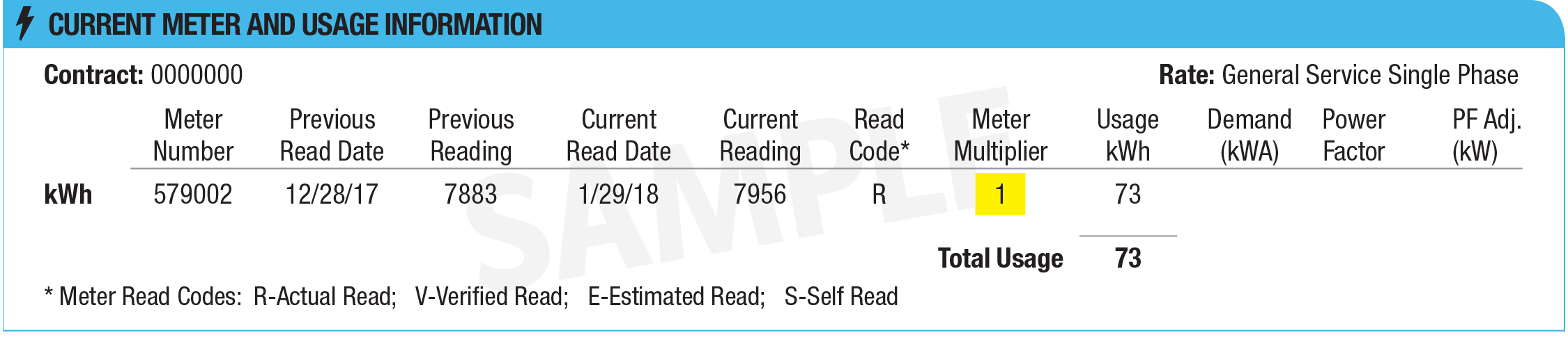 Reading reflects the full kWh usage.
