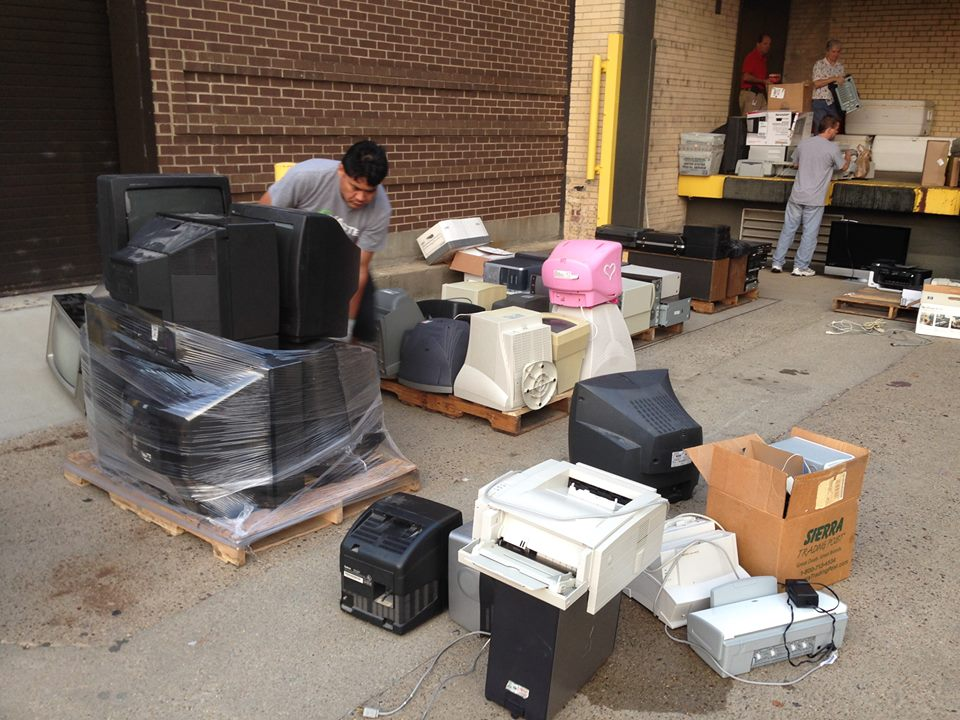 old electronics being collected for recycling