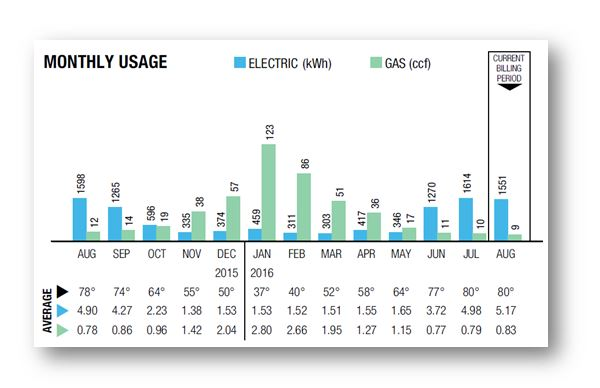 Electric and gas usage chart.