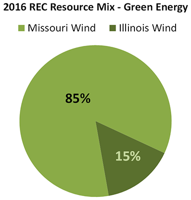 Pie chart of green energy resource mix - 100% wind