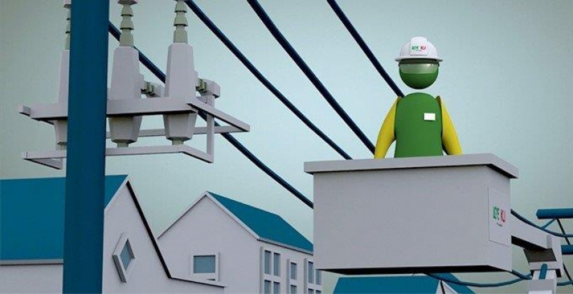 animated image of line tech in bucket truck