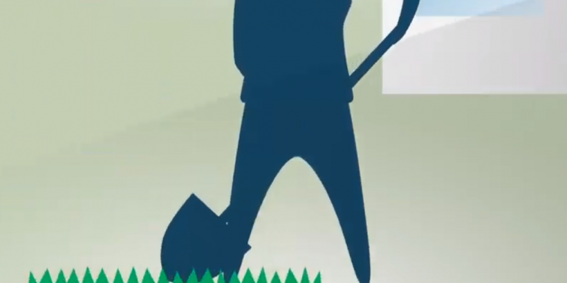 cartoon of person digging