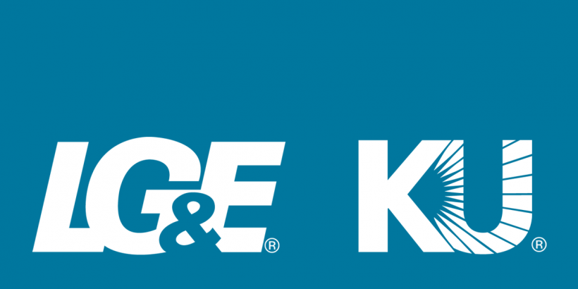 LG&E and KU logos on blue background