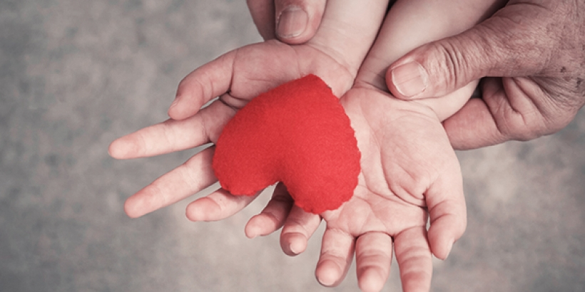 Child hands holding plush heart with adult hands holding the childs