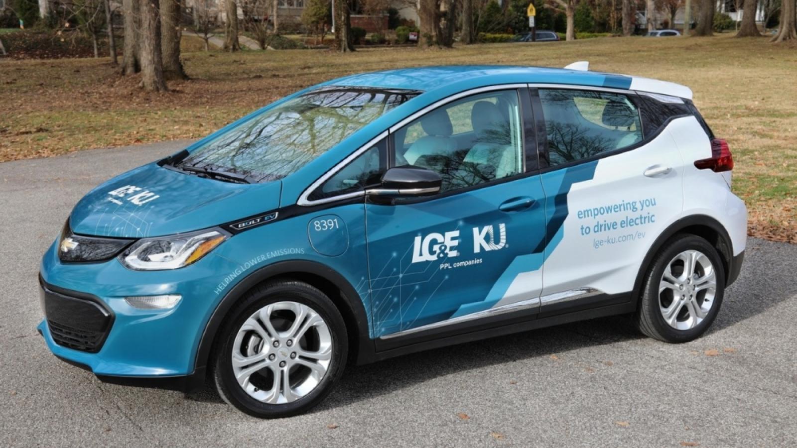 a vinyl wrapped LG&E and KU electric vehicle