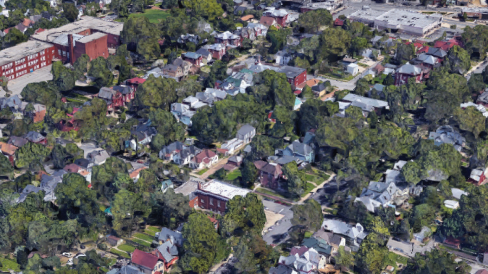 aerial view of a neighborhood from a 3D map