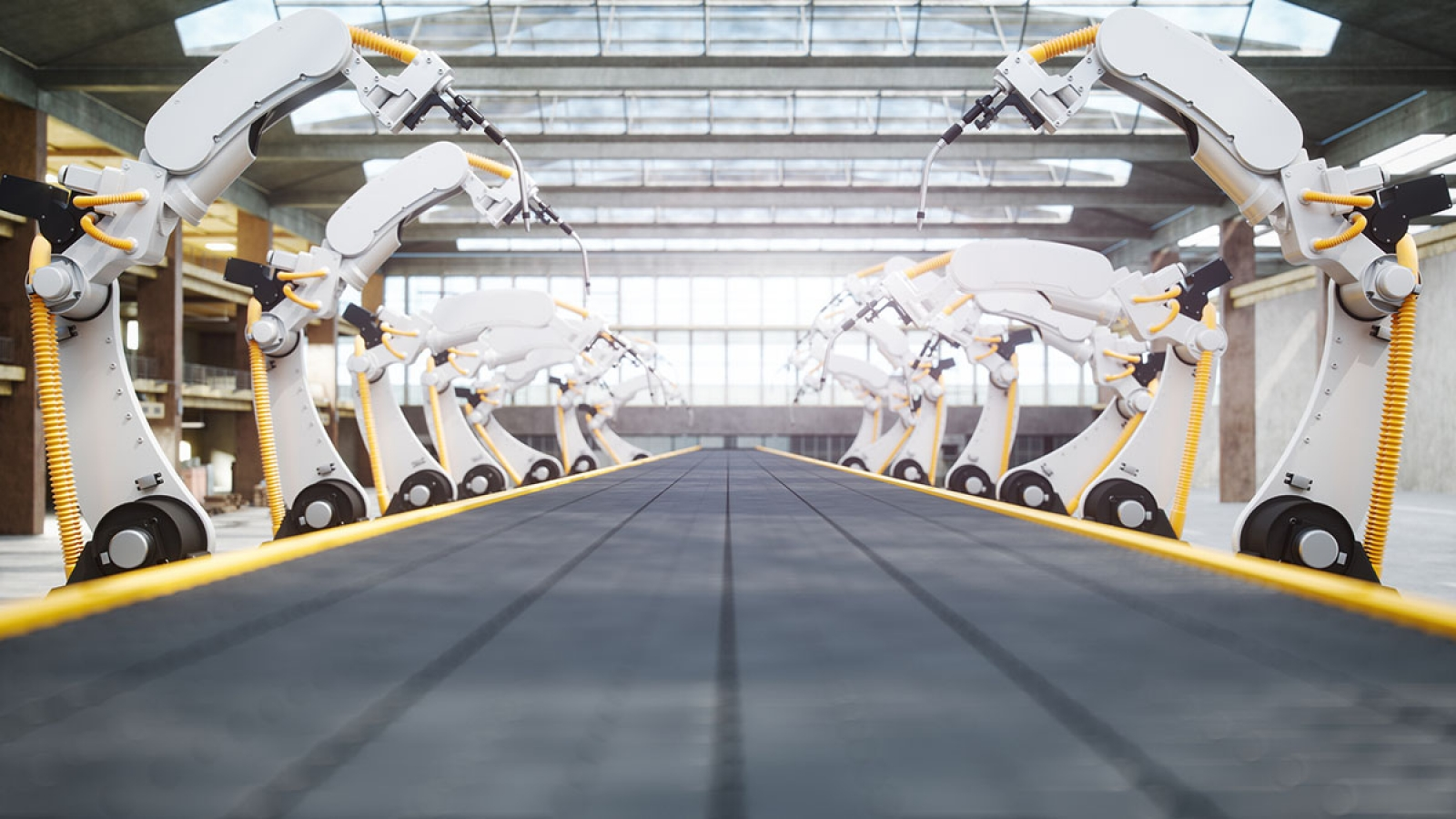 robots on an assembly line