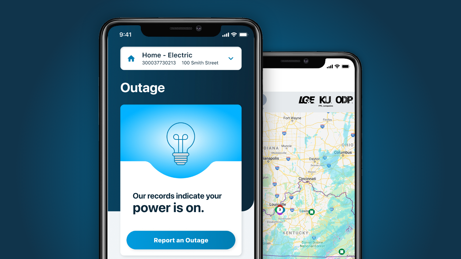 LG&E and KU mobile app outage screens