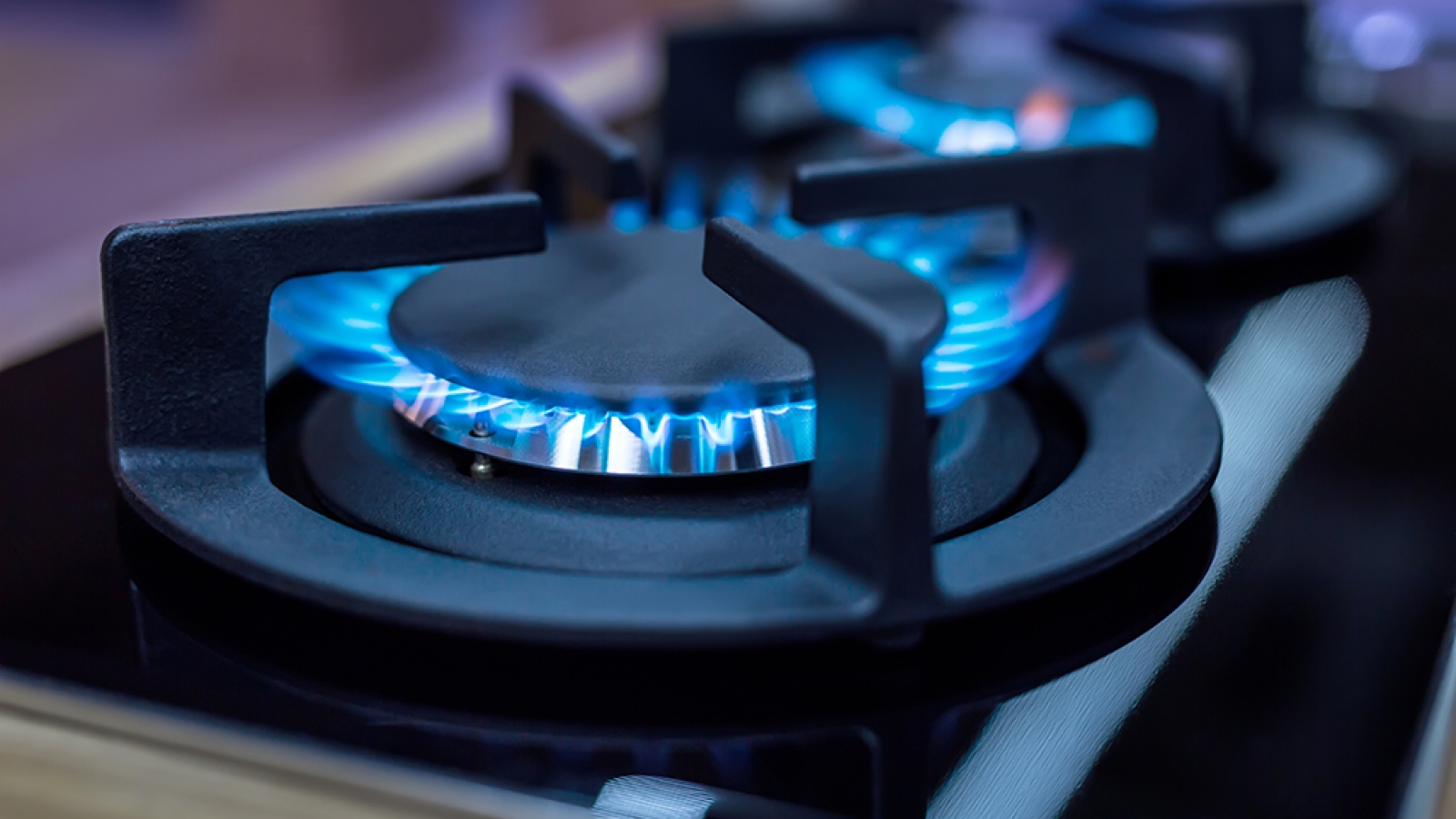 closeup of gas stove burners