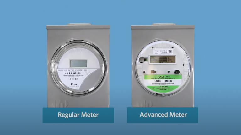 A regular meter next to an advanced meter