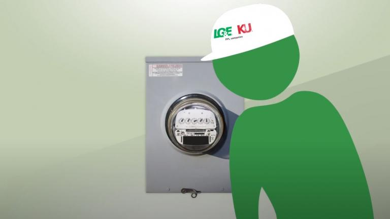 animated employee checking a meter