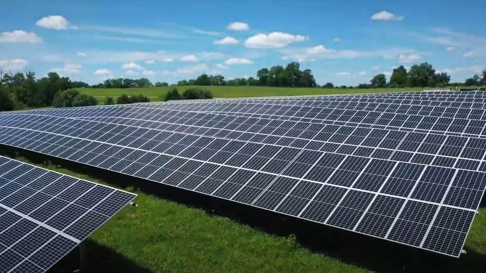 a field of solar arrays