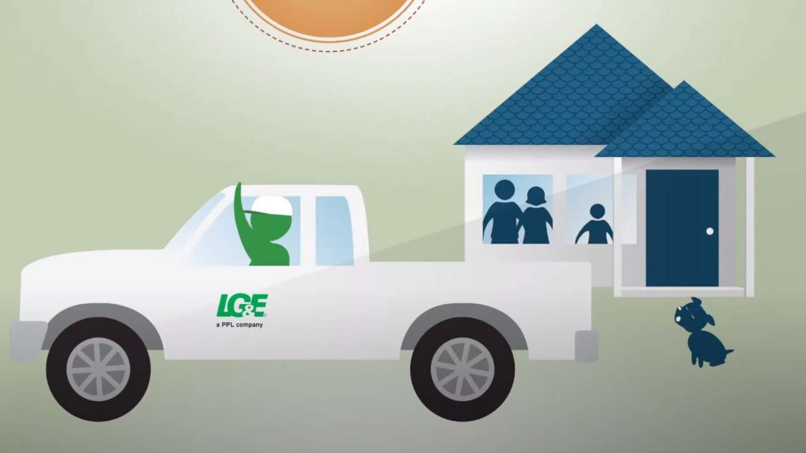 cartoon of LG&E employee in truck waving to family in a house