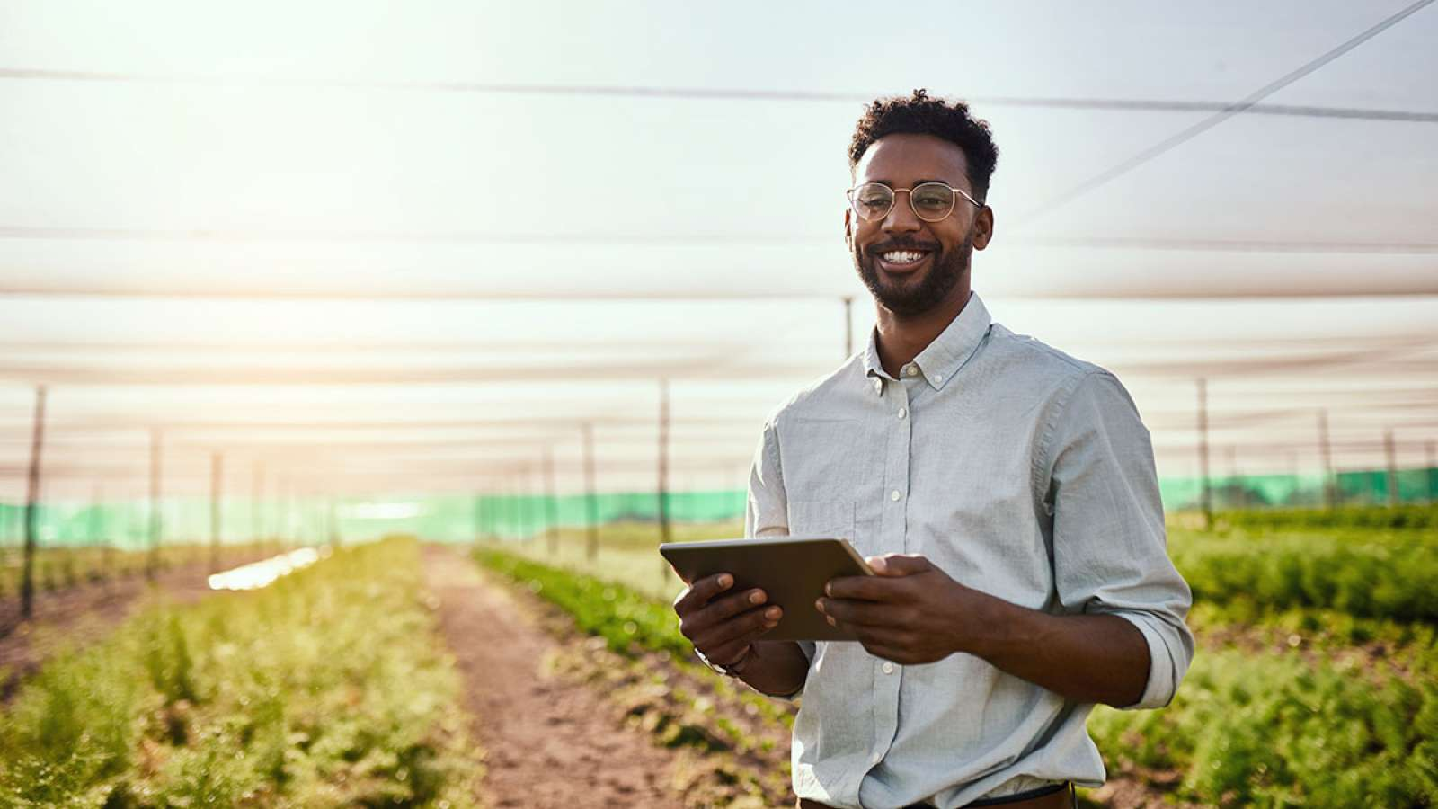 Man with glasses holding tablet in a field of plants
