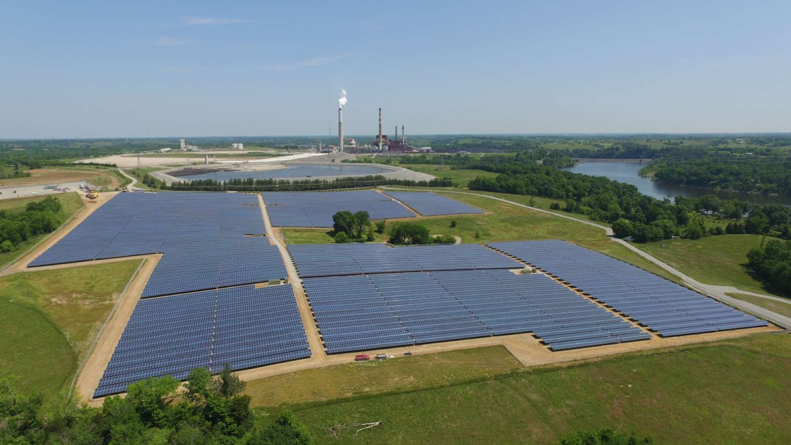 aerial view of E.W. Brown solar facility