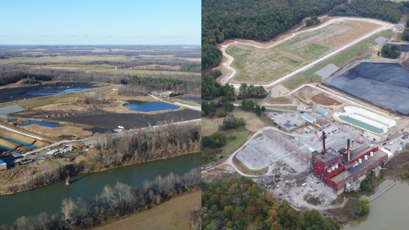 aerial views of ash pond being closed