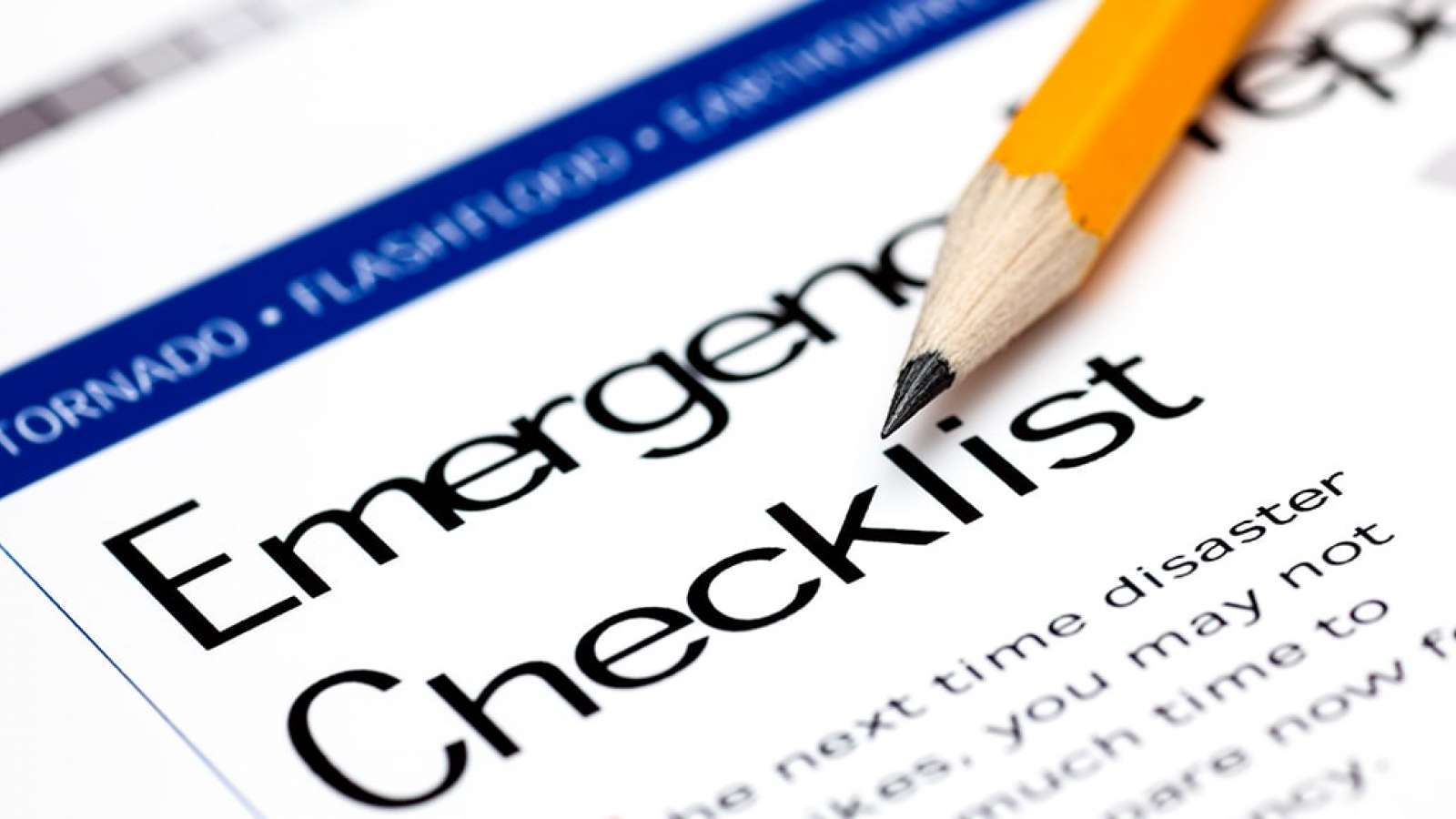 Emergency checklist sheet with pencil on it