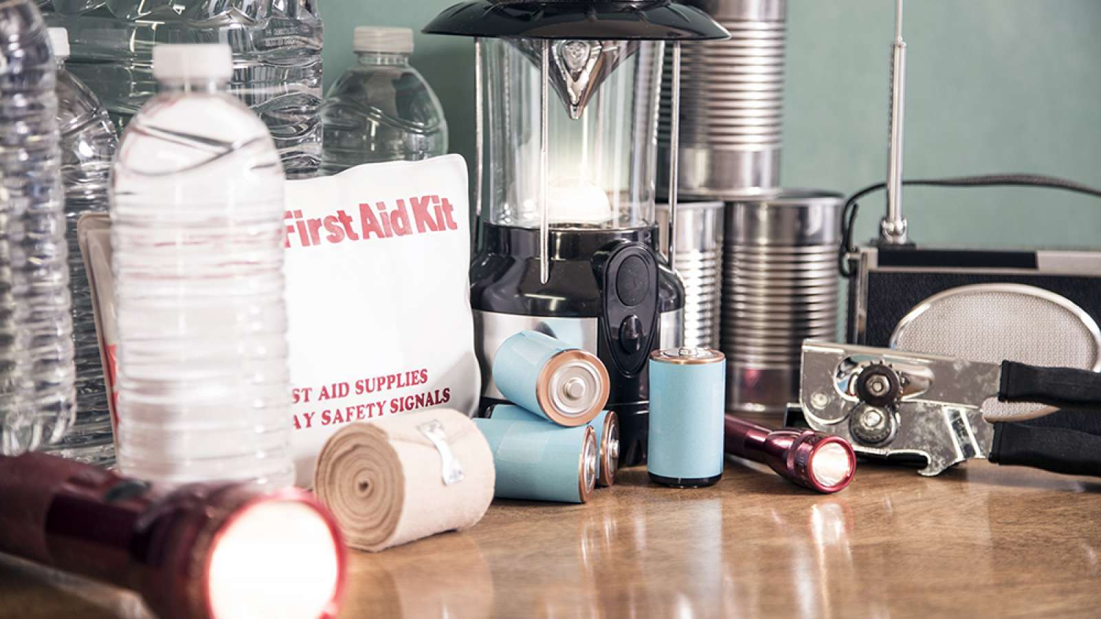 emergency supplies on a table