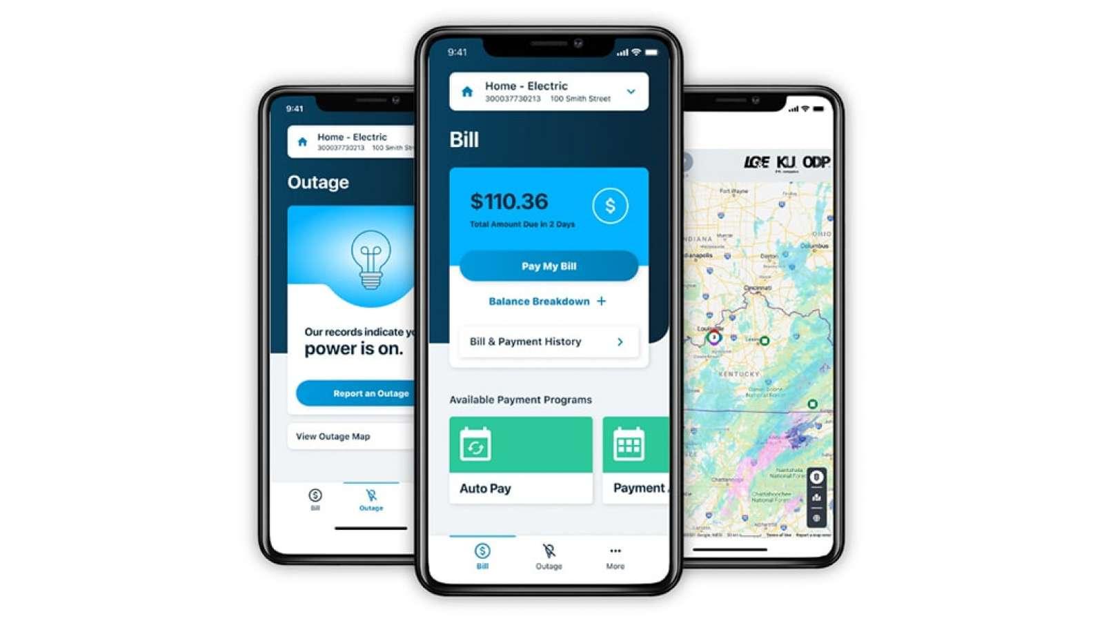 LG&E and KU mobile app screens
