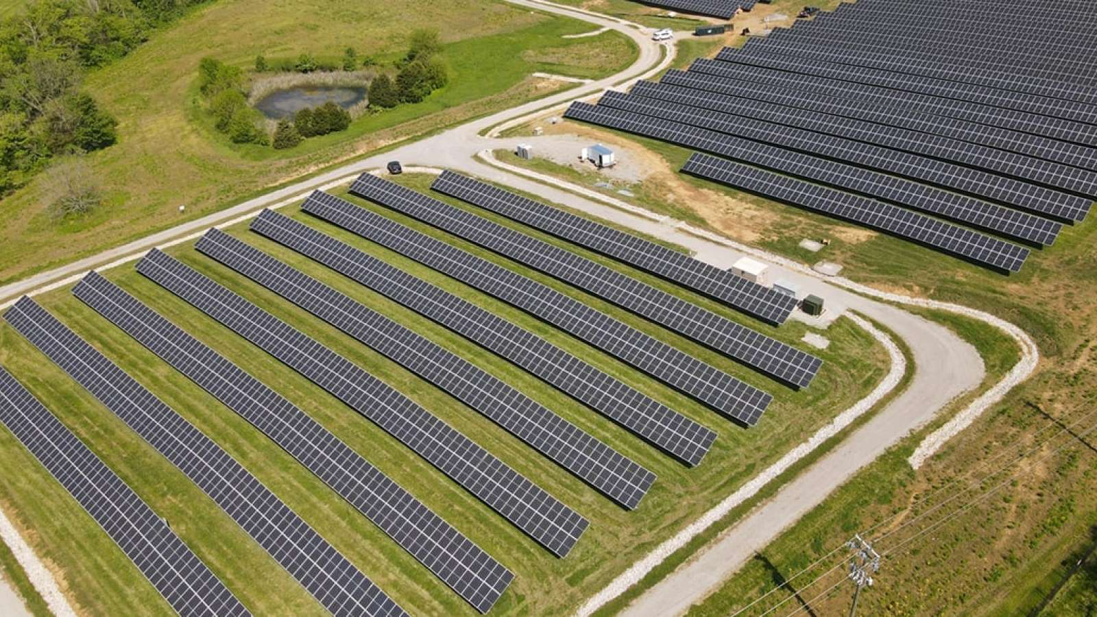 Aerial view of Solar Share solar field