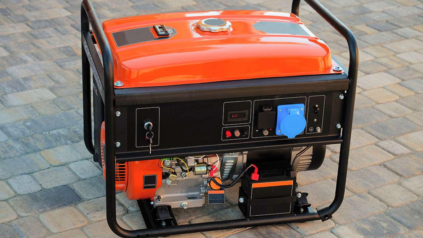 portable generator on a brick patio