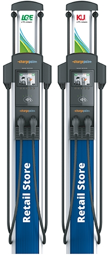 two electric vehicle charging stations