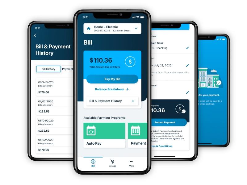 LG&E and KU mobile app billing screens