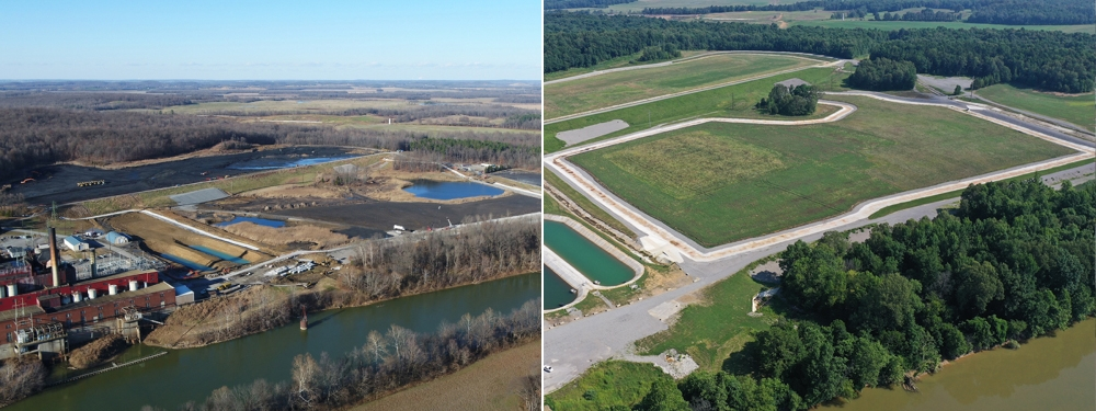 Green River - aerial views of ash pond being closed