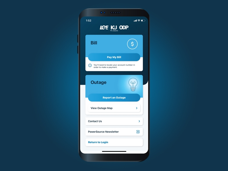 LG&E and KU mobile app guest access screen