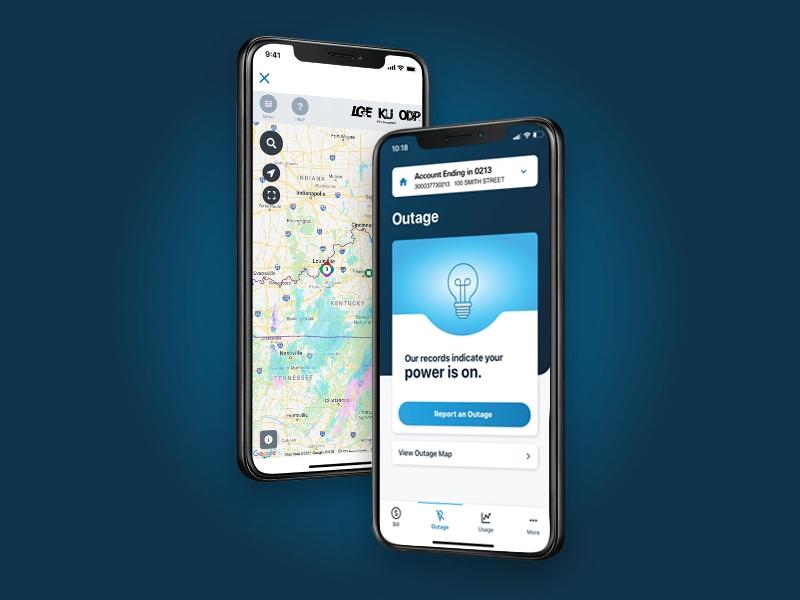 LG&E and KU mobile app outage screens
