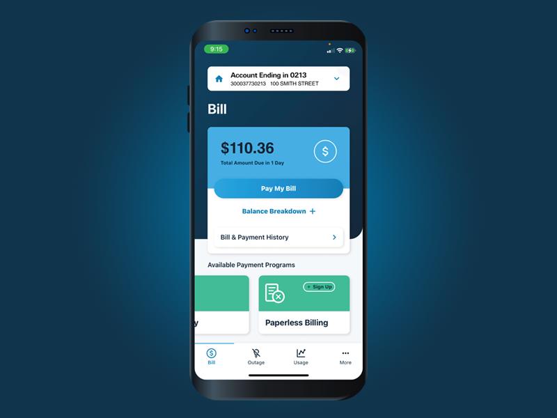 LG&E and KU app billing screen