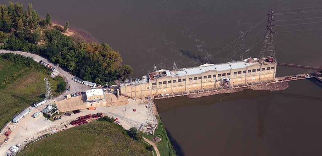Aerial view of Ohio Falls Generating Station