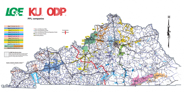 service territory map of Kentucky for LG&E, KU, and ODP
