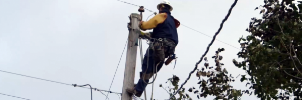 employee working on utility pole