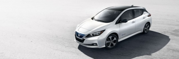image of Nissan Leaf electric vehicle in desert setting
