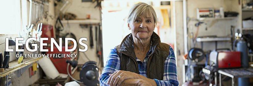 older woman in garage