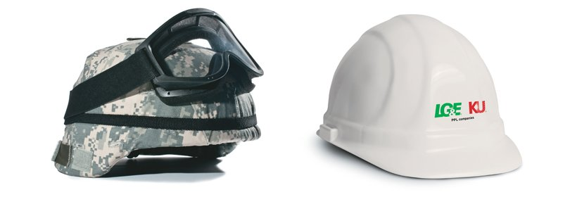 image of a military helmet with goggles next to a hardhat