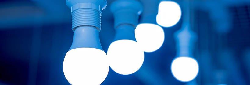 LED light bulbs hanging in blue hue