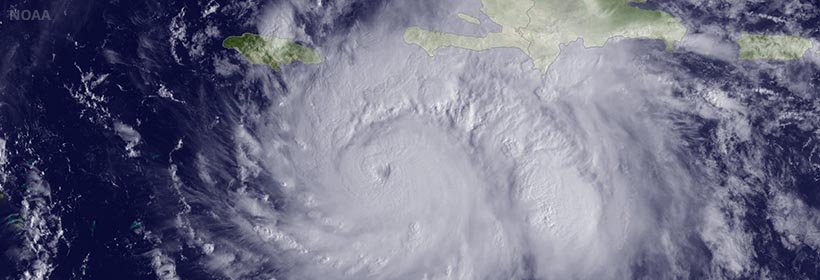 satellite photo of Hurricane Matthew - photo courtesy of NOAA