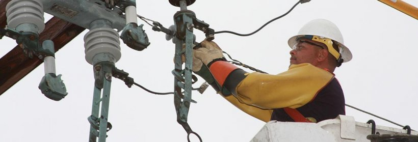 Line technician doing repairs
