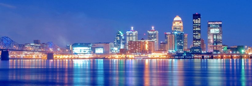 Photo of downtown Louisville, Kentucky skyline from Ohio River